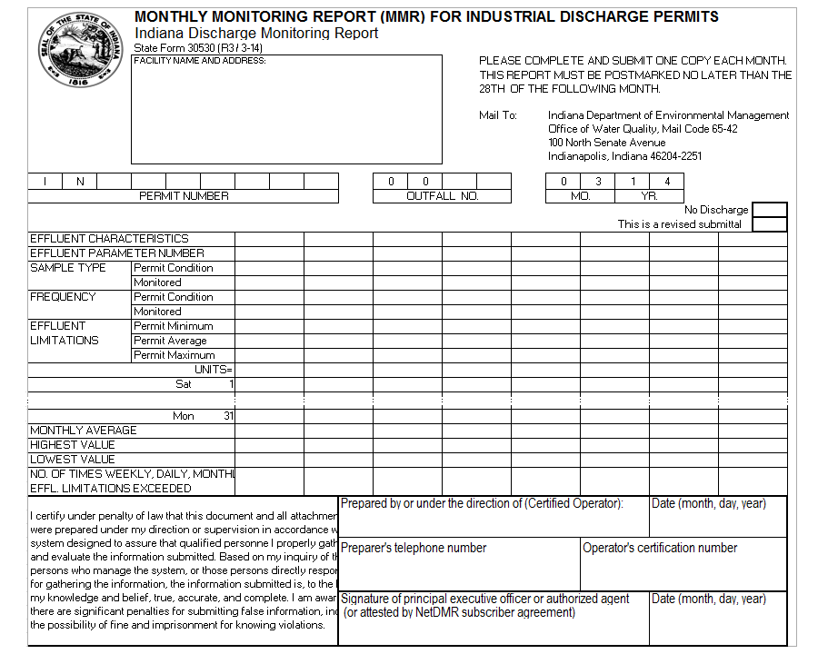 Monthly Monitoring report (MMR) is a regulatory report required by Water and Wastewater treatment plants